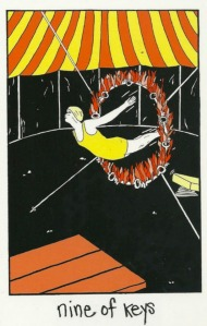 The 9 of Keys from the Collective Tarot. The ultimate take a leap of faith through a flaming ring of fire kinda thing.